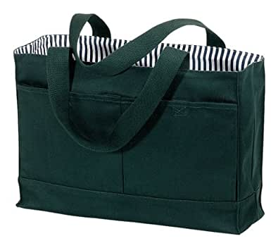 "Double Pocket Canvas Tote (16.25""w x 11.75""h x 5""d, Hunter Green)"