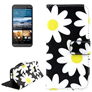 Flower Pattern Horizontal Flip Magnetic Buckle Leather Case with Holder & Card Slots & Wallet for HTC One M9