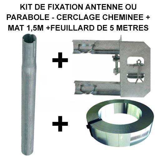 Fixation cerclage cheminée deux bras à un feuillard pour antenne et parabole + Mât 1.5m + Feuillard 5 mètres Galvanisée KIT - OPENSYS