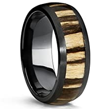 buy Black Titanium Wedding Band Ring With Real Zebra Wood Inlay, 8Mm Dome, Comfort Fit Size 9