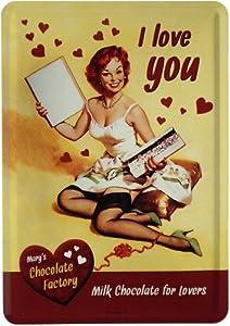 "Blechschild PinUp sexy Girl ""I love you"" Postkarte Blechkarte 10 x 14 cm Reklame Retro Blech PK02"