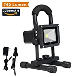 LTE 10W Cordless Outdoor Portable Rechargeable LED Work Light, 60W Halogen Bulb Equivalent, 760 Lumen, Adapter and Car Charger Included, Waterproof Floodlight, Security Lights.(Daylight White)