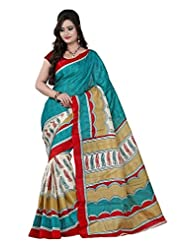 Parichay Women's Bhagalpuri Silk Saree(Green, Maroon)