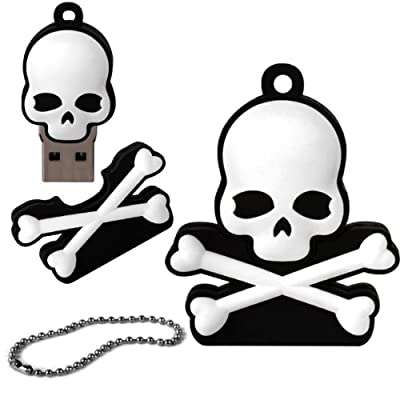 iGloo 8GB Novelty Pirate Skull and Crossbone USB 2.0 Flash Drive Data Memory Stick Device - Black and White from iGloo
