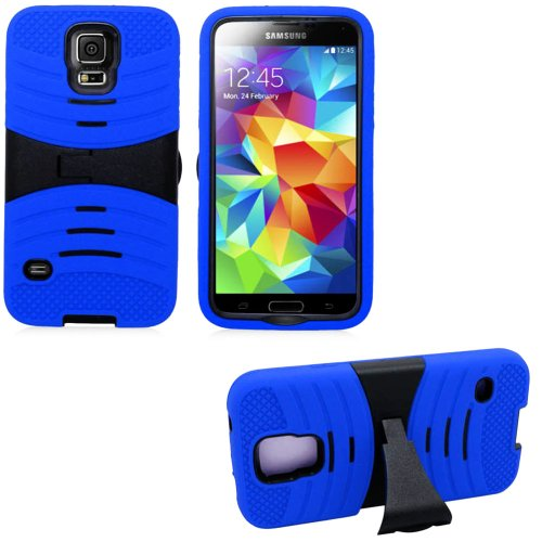 Mylife Deep True Blue And Black - Shockproof Survivor Series (Built In Kickstand + Easy Grip Ridges) 2 Piece + 2 Layer Case For New Galaxy S5 (5G) Smartphone By Samsung (Internal Flex Silicone Bumper Gel + Internal 2 Piece Rubberized Fitted Armor Protecto