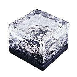 Generic Solar Power LED Color Changing Ice Cube Crystal Glass Ground Brick Path Light - 7 color changing