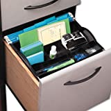 Rubbermaid Products - Rubbermaid - Hanging Desk Drawer Organizer, Plastic, Black - Sold As 1 Each - Suspends from hanging file rails. - Shallow front sections hold tiny items; large back sections hold oversized items. - Vital office supplies are easily accessible.