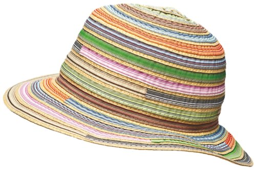 New Ladies Crushable Packable Ribbon Braided Summer Fashion Sun Hat Pastel Multi