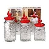 Circleware Red Pullet 3 Piece Embossed Canister Set With Red Ceramic Lids Set Of 3 Pieces