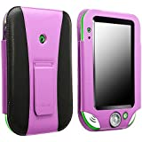 Insten® Leather Case with Stand compatible with Leapfrog® LeapPad® Ultra / Ultra Xdi, Purple/ Black