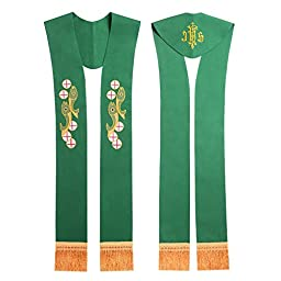 Blessume Church Green Stole Priest Embroidered Stole