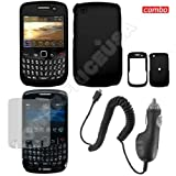 BlackBerry Gemini 8520 combo Rubber Feel Black Protective Case Faceplate Cover + LCD Screen Protector + Rapid Car Charger for BlackBerry Gemini 8520 + Free LiveMyLife Wristband