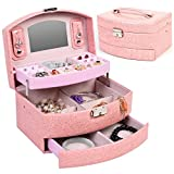 Jewelry Box Pink Storage Organizer Case Earring Necklace Ring Mirror PU Leather And Key New