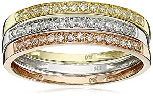 10k Tri-Colored Gold Diamond Stack Ring (1/4 cttw, J-K Color, I2-I3 Clarity), Set of 3, Size 6