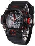OHSEN 5 色 メンズ ダイバーズ LED ライト 多機能 腕 時計 デジアナ 防水 ストップウォッチ 耐衝撃 スポーツ アウトドア ウォッチ (レッド)