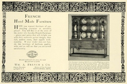 1925 Ad William A French Furniture Oak Dresser Minneapolis Minnesota Household - Original Print Ad