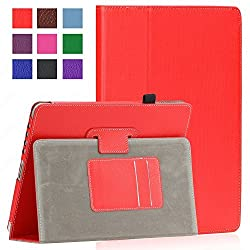 SAVEICON Red PU Folio Leather Case Cover with Built-in Stand for Apple iPad 1 1st Generation