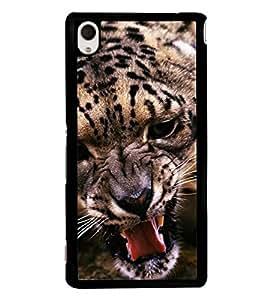 Fuson Premium 2D Back Case Cover Fierce leopard With Blue Background Degined For Sony Xperia M4 Aqua::Sony Xperia M4 Aqua Dual