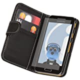 ITALKonline Samsung i8530 Galaxy Beam PU Leather Executive Flip Wallet Book Case Cover with Credit / Business Card Holder and LCD Screen Protector plus MicroFibre Cleaning Cloth (Black)