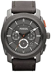 Fossil Watches, Men's Machine Chronograph Leather Watch Iron Grey