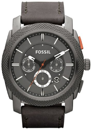 FOSSIL Machine Chronograph Leather Watch Iron Grey