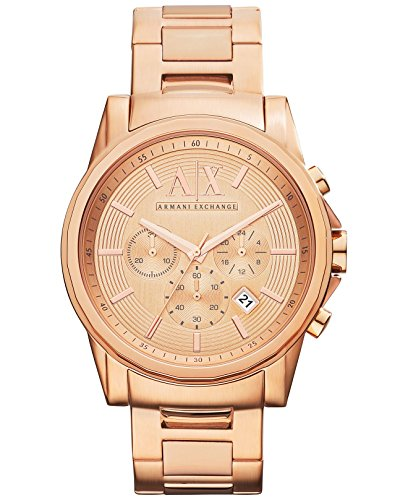 Armani Exchange Men's AX2502 Rose-Gold Stainless-Steel Quartz Watch with Rose-Gold Dial