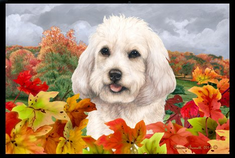 Cockapoo White - Best of Breed Fall Leaves Floor Mat