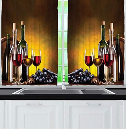 Ambesonne Tuscany Wine Land Decor Collection, Grapes Wines Bottles Glasses Picture Printed Artwork, Window Treatments for Kitchen Dining Room Curtains 2 Panels Set, 55