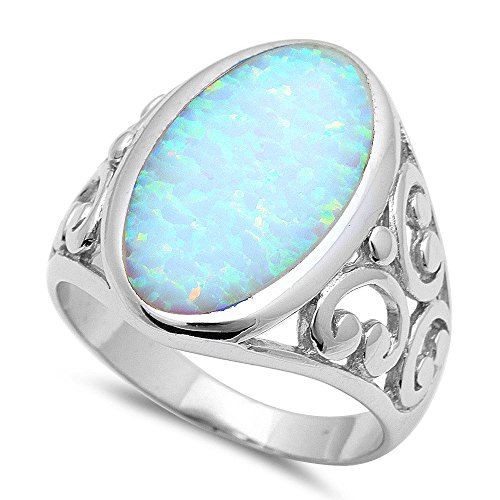 Best Seller Elegant Oval Shape Lab Created White Opal .925 Sterling Silver Ring Sizes 6-11 (10)
