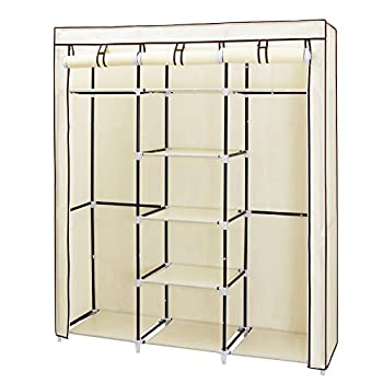 SONGMICS Portable Clothes Closet Non-woven Fabric Wardrobe Double Rod Storage Organizer Beige 59-Inch URYG12M