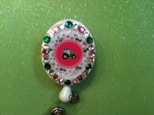 John Deere, Country Girl , Tractor, Id Holder, Swarovski Crystal Embellished Retractable Reel ,Badgeholder Free Id Sleeve ,Id Holder
