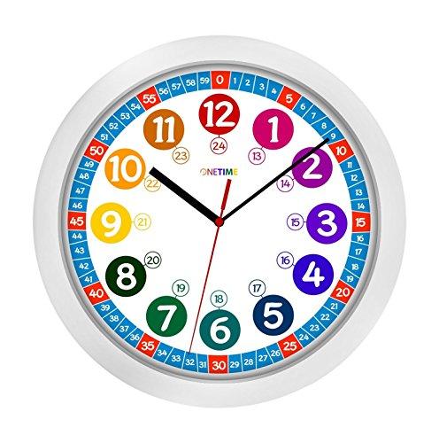 ONETIME-Kinderwanduhr--305-cm-Kinder-Wanduhr-mit-lautlosem-Uhrenwerk-und-farbenfrohem-Design-Ablesen-der-Uhrzeit-lernen