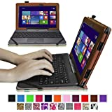 """Fintie ASUS Transformer Book 10.1 inch Laptop T100TAM / T100 / T100TA / T100TAF Case - Premium Vegan Leather Keyboard Stand Cover For ASUS Transformer Book 10.1"""" Detachable 2-in-1 Touch Laptop (Windows 8.1), Brown"""