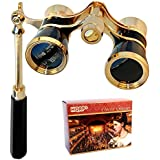 HQRP 3 x 25 Opera Glass Binocular in Elegant Black Color w/ Built-In Elegant Black Extendable Handle with Gold Trim plus Coaster