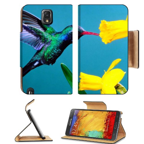 Hummingbird Beautiful Colors Plant Bird Flight Nectar Yellow Petals Samsung Galaxy Note 3 N9000 Flip Case Stand Magnetic Cover Open Ports Customized Made To Order Support Ready Premium Deluxe Pu Leather 5 15/16 Inch (150Mm) X 3 1/2 Inch (89Mm) X 9/16 Inch front-802423