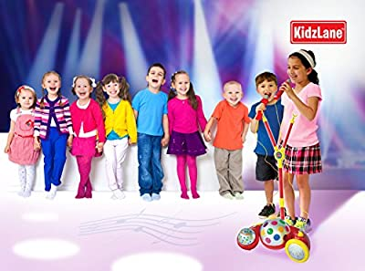 Kids Karaoke Sing Along Stage Microphone - 2 Detachable Microphones - Flashing Lights - 3 Build-in Dance Beats - With Auxiliary Cable to Connect to Your CD/MP3 & Smart Devices - Expandable Mic Stand