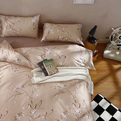 Vintage Botanical Flower Print Bedding 400tc Cotton Sateen Romantic Floral Scarf Duvet Cover 3pc Set Colorful Antique Drawing of Summer Lilies Daisy Blossoms (King, Natural) 6