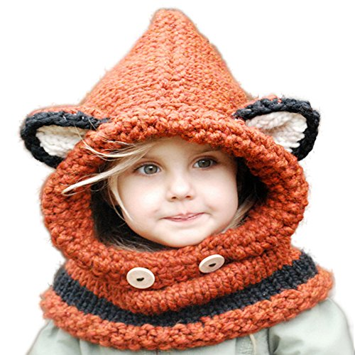 Jhua Baby Kids Warm Winter Hat Crochet Knitted Caps Hood Scarves Skull Fox Ear Beanies