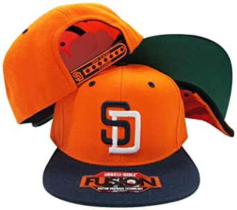 San Diego Padres Orange Navy Two Tone Fusion Snap Adjustable Snapback Hat Cap by American Needle