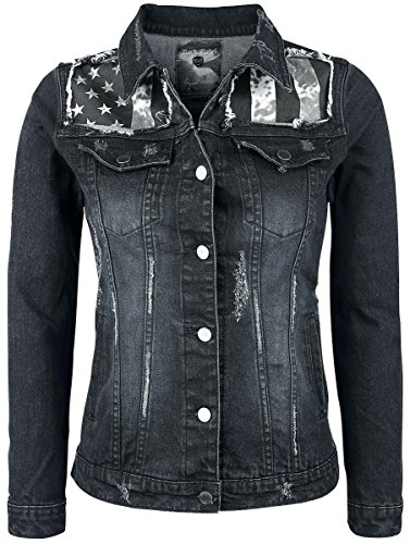 Rock Rebel by EMP Flag Jeansjacket Giacca di jeans donna nero/blu S