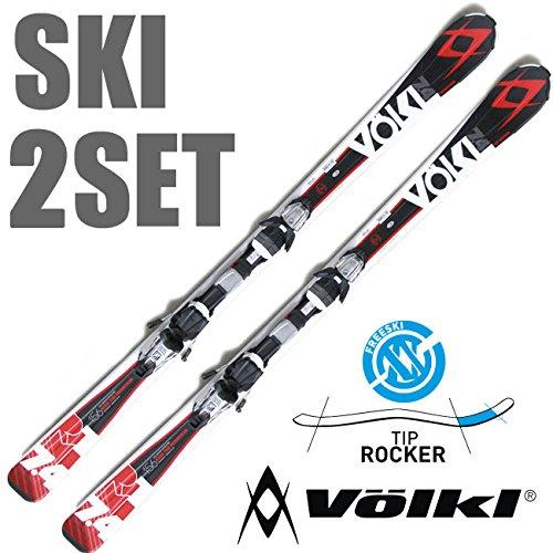 【SKI2点SET】ロッカースキー!!【 VOLKL / フォルクル 】RTM 7.4 金具付きスキー オールラウンド スキー 板 set 2点 2点セット セット ski スキー板  メーカー メンズ レディース マーカー チップロッカー (RED, 156cm)