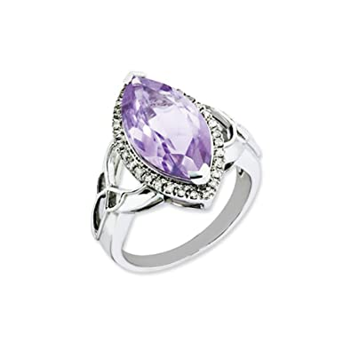 Black Bow Jewellery Company : Marquise Rose de France Quartz and Diamond Silver Ring