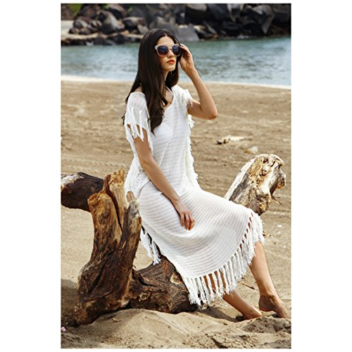 462cdd52866 MG Collection® White Cotton Resort Style Beach Dress Fringed Swimsuit Cover  Up