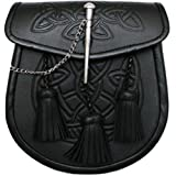 Tartanista Men's Celtic Pattern 3 Tassels Black Kilt Sporran & Belt