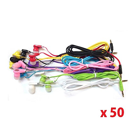 Seattletech Wholesale Pack Of 50 New 3.5Mm Colors Simple In-Ear Earphones Headphones Ear-Buds For Iphone Samsung- Mixed Colors