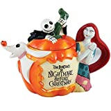 Nightmare Before Christmas Jack Sally And Zero Around Pumpkin Ceramic Teapot