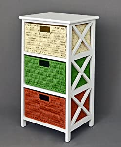 Chest Of Drawers Coffee Table Kitchens Bathroom Hallway Shelf In White With Three Rattan Baskets