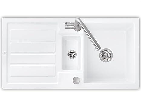 Villeroy & Boch Flavia 60 de nieve Puramente para la instalación de cerámica fregadero blanco colour blanco de cocina-fregadero