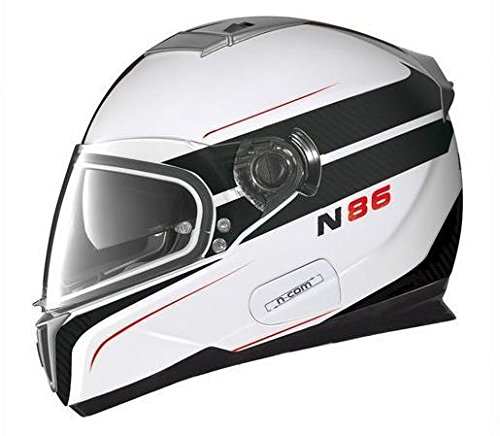 Nolan N-86 Rapid N-Com Helmet, Distinct Name: Metallic White/Black, Gender: Mens/Unisex, Helmet Category: Street, Helmet Type: Full-face Helmets, Primary Color: Black, Size: XS N8R5273330247