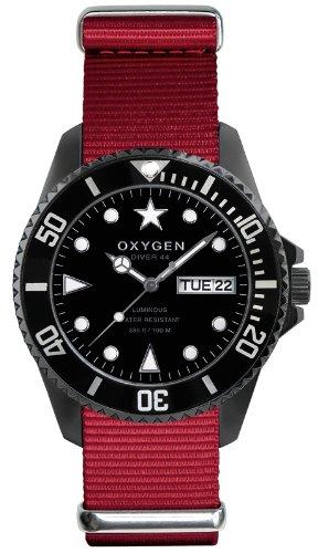 Oxygen EX-D-MBB-44-RE - Reloj analógico de cuarzo unisex, correa de nailon color rojo (agujas luminiscentes)